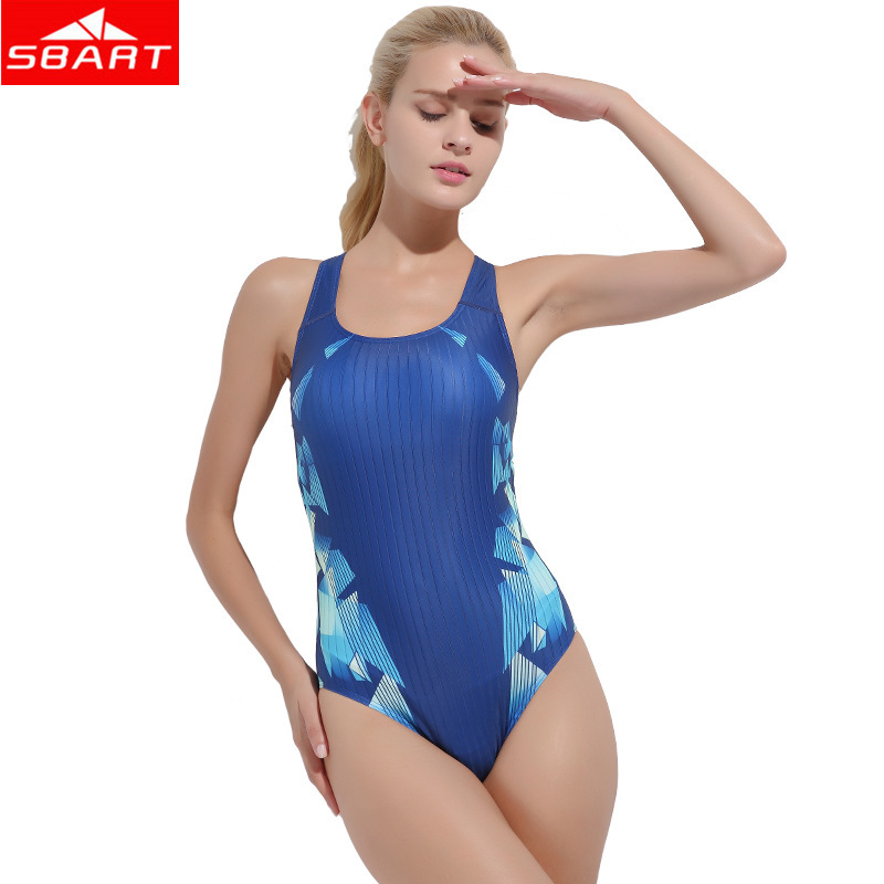 SBART Ladies One-Piece Swimsuits Removable Padding Wire Free Surfing Swimming One-Piece Suits for Women Beach Sport Swimwear 2XL sbart upf50 rashguard 2 bodyboard 1006