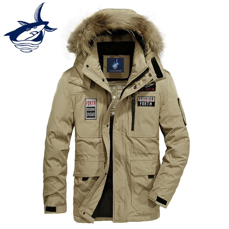 Russia Winter Jacket Men Fur Collar Thicken White Duck   Down     Coat   Men Brand Tace & Shark   Down     Coat   Parka Men Windbreaker