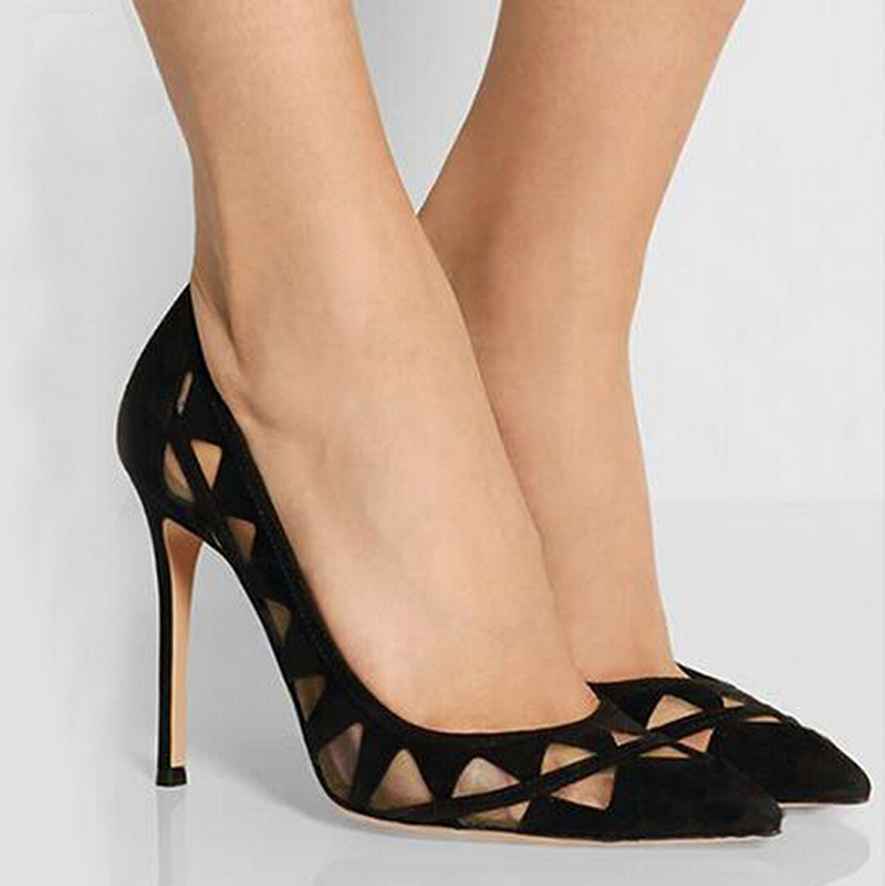 Sexy net fabric women cutout shallow mouth pointed toe 11CM high-heeled single shoes lady all match OL pump black/apricot size40