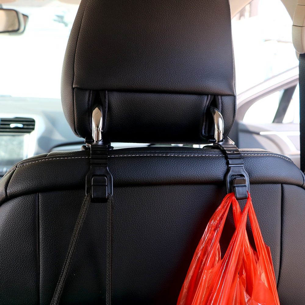 LEEPEE 1 Pair Car Back Seat Hooks Holder For Bag Purse Cloth Grocer Flexible Auto Hangers Fixed On Headrest Accessories