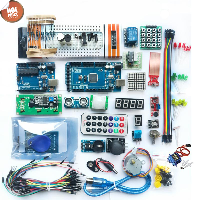 Starter kit forDIY UNO и Mega 2560/LCD1602/HC-SR04/HC-SR501 DuPont линии в пластиковой коробке