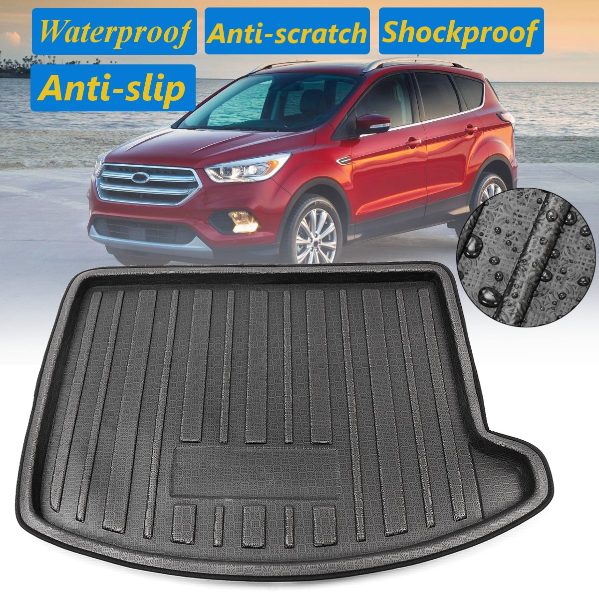 For Ford Escape Kuga 2013 2014 2015 2016 2017 2018 Cargo Liner 1 Pcs PE Rear Trunk  Floor Tray Carpet Boot Mat Mud Kick OverlayFor Ford Escape Kuga 2013 2014 2015 2016 2017 2018 Cargo Liner 1 Pcs PE Rear Trunk  Floor Tray Carpet Boot Mat Mud Kick Overlay