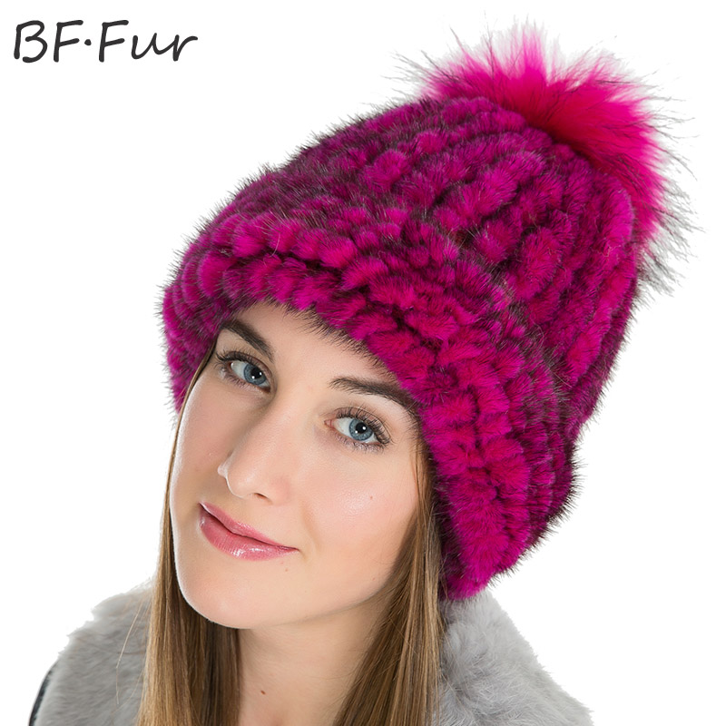 BFFUR Brand Real Mink Fur Beanies Hats For Girls Winter Warm Knitted Cap Women Fashion Thick Solid Female Round Animal Pompom kukilonglong winter warm caps for women knitted beanies cap brand new thick female cap fox fur ball double layer hats for girls