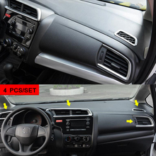 For Honda FIT JAZZ 2014 2015 2016 2017 2018 ABS Matte Car conditioner air Outlet vent frame cover trim car styling accessories недорого
