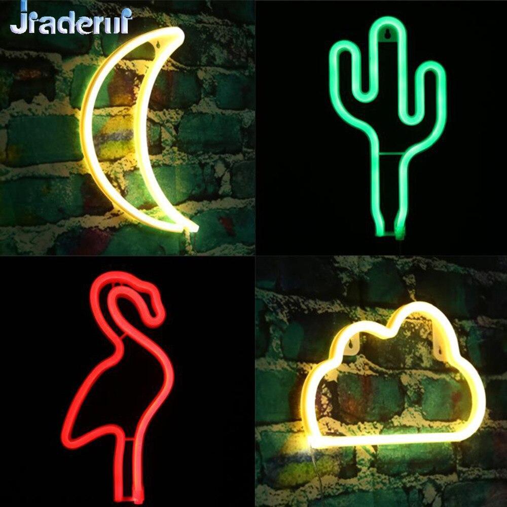 Jiaderui USB Rechargeable/Battery Neon Lamp New Year Christmas Wedding Decor Lamp Flamingo/Cactus/Moon/Cloud LED Home NightLight