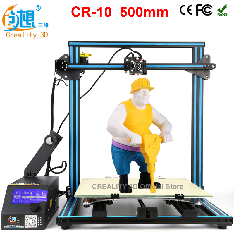 CREALITY 3D CR-10 large 3d Color Printer 3d printing kit FDM Injection Molded CNC printer 3d+Aluminum&Glass Hotbed portable cr 7 mini 3d printer fdm lcd off line printing self assembly diy kit lightweight for artistic design free shipping