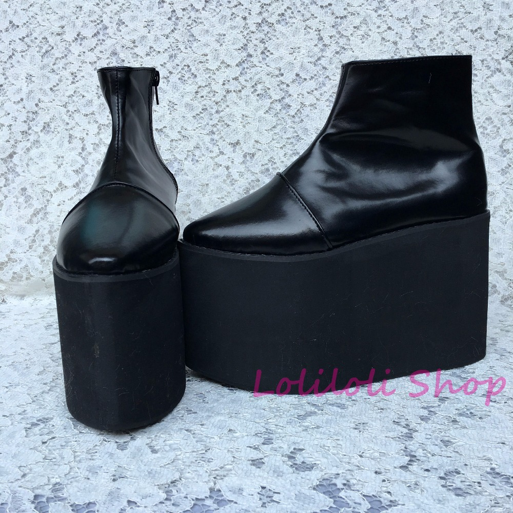 Punk shoes Big shoes shoes special custom an*tai*na* thick black bottom side zipper shoes custom 1382jn platform punk shoes big shoes special custom shoes black and white thick bottom tie bright leather heels platform customized 1304 2