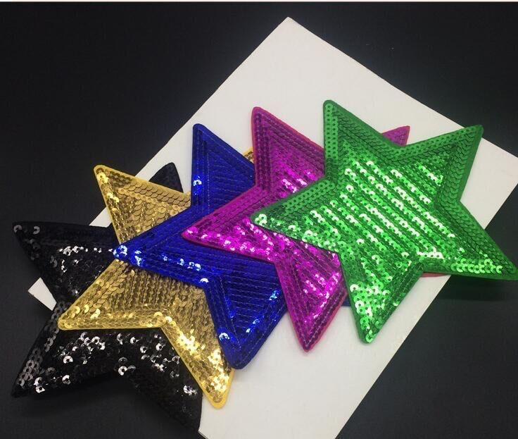 Dingzan 5pc sequins  Pentagon embroidery cloth decorative accessories backglue patchesbags hats repairs and subsidized stamps