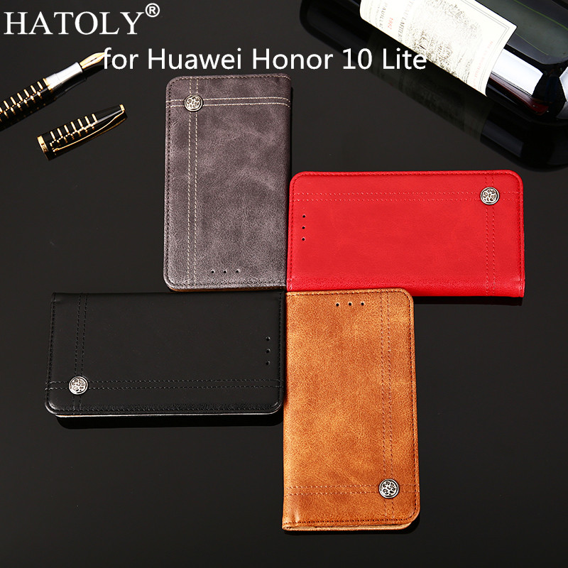 HATOLY For Huawei Honor 10 Lite Case Leather Flip Cases Soft Silicone Pouch Cover for Huawei Honor 10 Lite HRY-AL00a Phone Bag