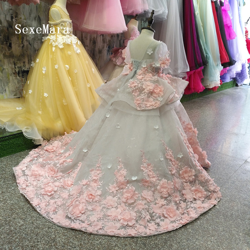 Image 2 - Real Picture New Flower Girls Dress Baby Girl Clothes Lace 3D Flowers Applique Puffy Tulle Kids Birthday Gown Custom Made-in Dresses from Mother & Kids