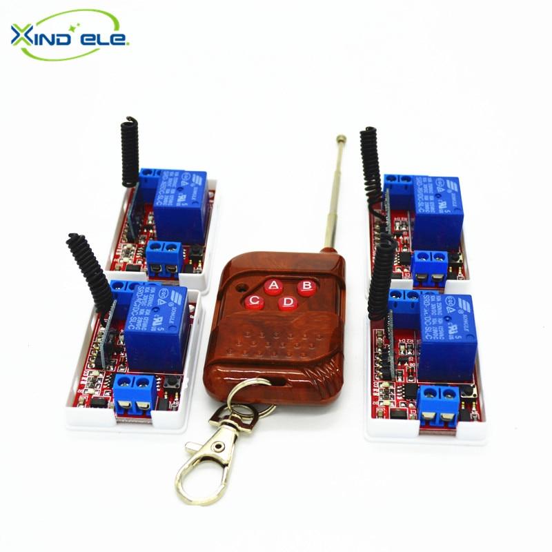 цена на XIND ELE 1 Way, 315mhz 4pcs Remote Control Learning Switches 05V DC + a 4-key RF Controller For Light #RF05-1LM-315-4+PW4#