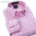 2016 Новый Длинным Рукавом Красный Полосатый Рубашка Мужчин Бренд Блузка Хлопок Рубашка Формальный Отложным Воротником Camisa Masculina мужской Рубашке