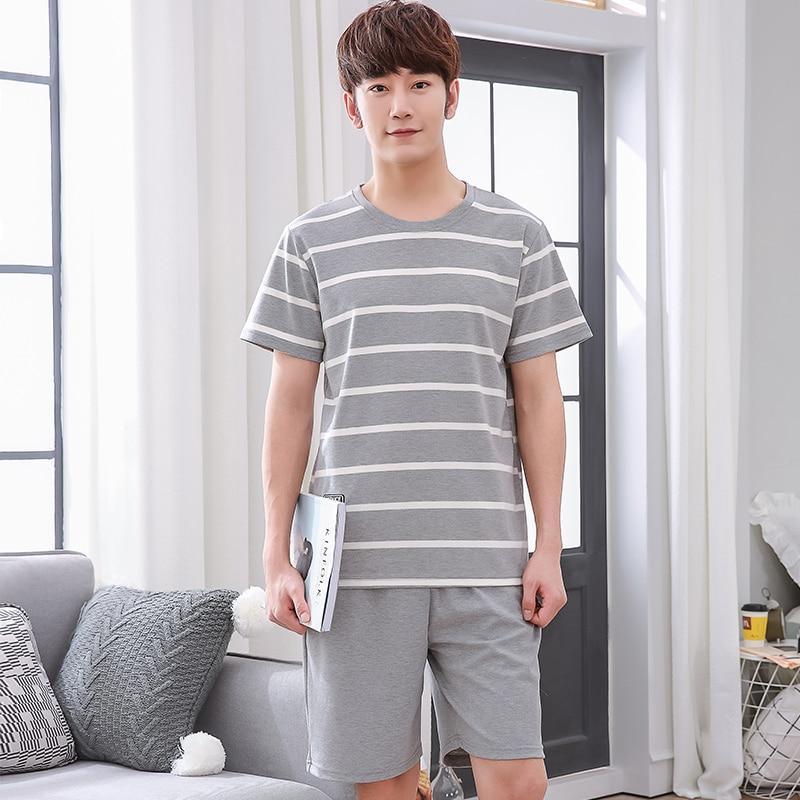 Men Pajama Sets Big Size L-3XL Short Sleeve O-Neck Sleepwear 2018 New Mens 100% Cotton Pyjama Free Shipping