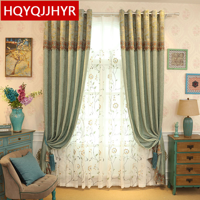 European Style Luxury Light Green Chenille Shade Curtains For Living Room High End Custom Finished Bedroom Kitchen