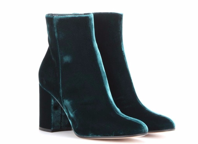a1eb04300bd5c US $81.4 16% OFF|Hot Fashion Green/Blue/Grey Flock Ankle Shoes Zip Round  Toe Women's Shoes Square Heel Big Size Women's Boots -in Ankle Boots from  ...