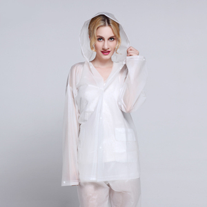Image 3 - EVA Transparent Adult Rainwear Suit For Women And Men Outdoor Portable Split Rain Pants Raincoats Waterproof Female Raincoat