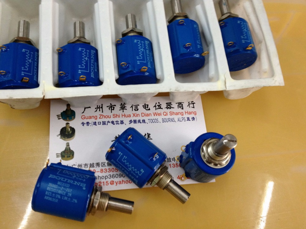 Original new 100% United States import 3500S-2-202 2K 500R 2K 5K 50K turn wirewound potentiometer 100K (SWITCH) spanish two tone double potentiometer 10k 50k