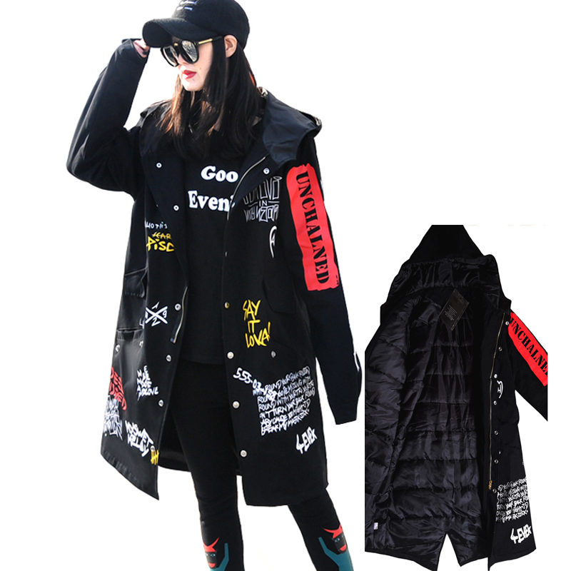 Women's 2019 Spring Hip-hop Letter-printed Windbreaker BF Hooded Trench Coat Parkas