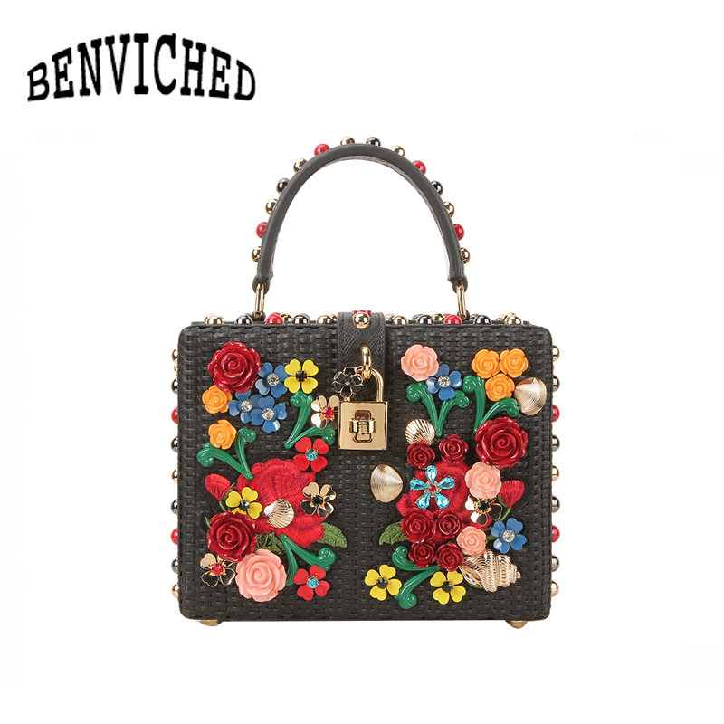BENVICHED 2019 Fashion Knitting Luxury Box Bags Diamonds Genuine Leather Women Shoulder Bag Evening Bag Princess Handbags L108BENVICHED 2019 Fashion Knitting Luxury Box Bags Diamonds Genuine Leather Women Shoulder Bag Evening Bag Princess Handbags L108