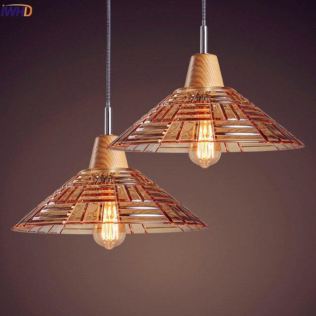 IWHD Nordic Holz LED pendelleuchte Wohnzimmer Glas Edison Loft ...