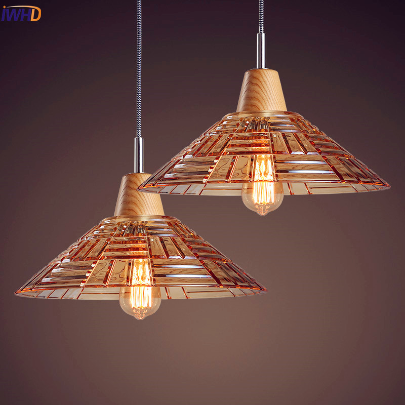 IWHD Nordic Wooden LED Pendant light Living Room Glass Edison Loft Industrial Lighting Vintage Lamp Hanging Lights Luminaire loft industrial rust ceramics hanging lamp vintage pendant lamp cafe bar edison retro iron lighting