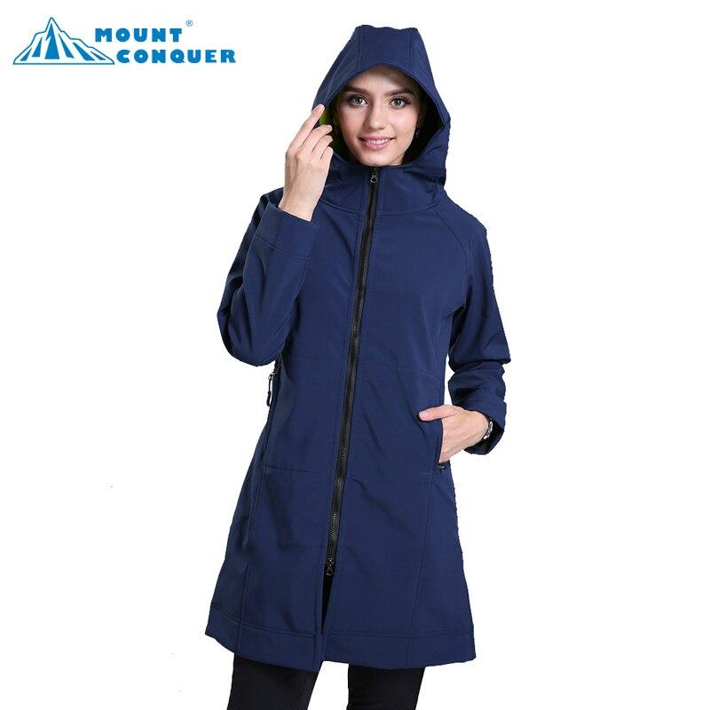 2017 Women Female Outdoor Inner Fleece Hiking Long Coat Autumn Hooded Softshell Jacket Hunting Escalada Jackets Windbreaker Jaqu