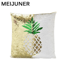 Meijuner Cushion Cover 40x40 Pineapple Mermaid Magic Sequins Pillowcase Color Changing Reversible Pink Covers for Sofa