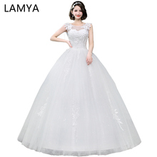 ФОТО lamya applique boat neck lace abiye a-line bridal gowns lace princess wedding dress elegant 2018 organza gelinlik