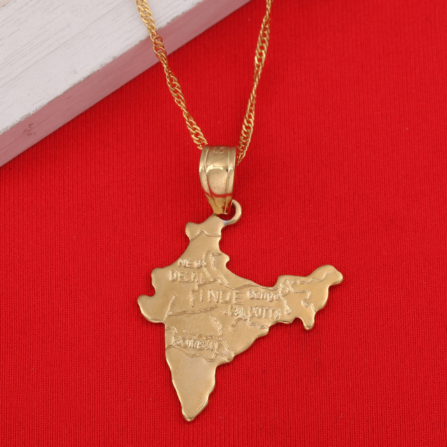 The Republic Of India Map Pendant Necklaces Chain Indian For Women