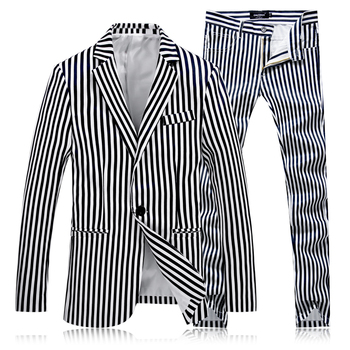 (blazer + pants) suit two-piece mens vertical stripes slim banquet fashion suit suit gentleman casual business blazer male dress