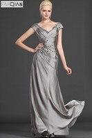Elegant V Neck Beaded Long Mother Of The Bride Dresses Custom Made Cap Sleeve Mother Evening