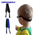 10 pcs Neoprene Óculos óculos de Sol das Crianças Criança Espetáculo de Segurança Cabeça Cord Strap Titular 2 Cores Preto/Azul Tamanho 28x2 cm