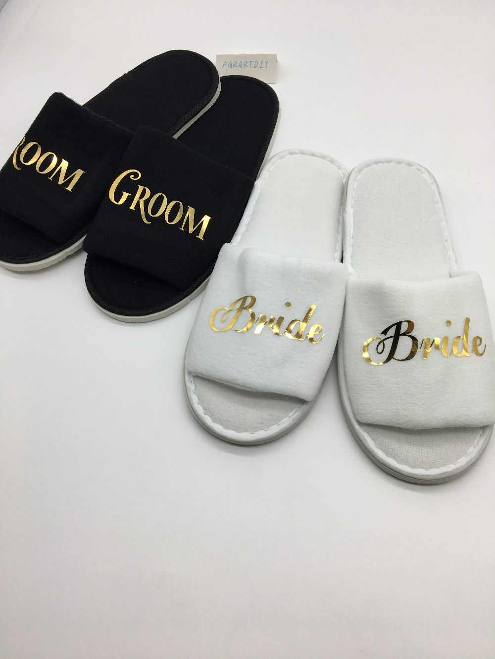 Personalized Gold Wedding Bride Groom Slippers Bridal Party