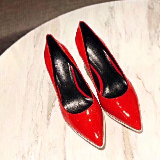 Gratis verzending 2019 lente en zomer wees teen vrouwen schoenen echt lakleder hoge hak pompen sexy party schoenen-in Damespumps van Schoenen op  Groep 1