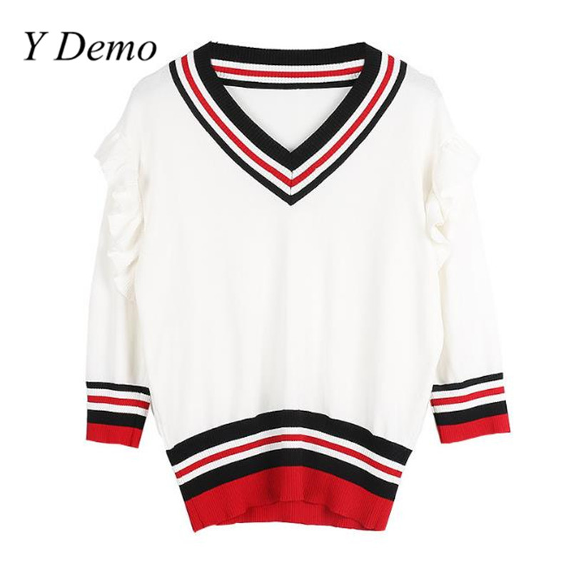 Y Demo New Knitting Shirt Stripe Lotus Leaf Edge High Waist Top V Collar Middle Sleeve Women T-shirt