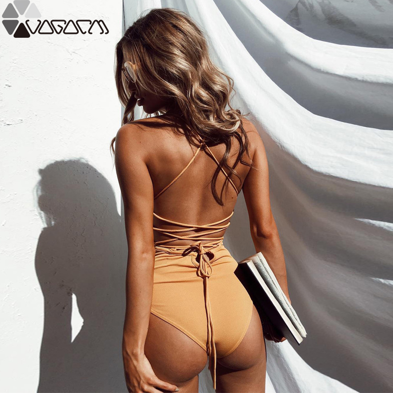 2019 Women Bikini Backless Swimwear Push Up Bikini Set Knitting Hollow Out Swimsuit Bathing Suit Women Mujer Beachwear in Body Suits from Sports Entertainment