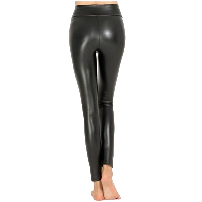 Image 2 - VISNXGI High Waist Faux Leather Leggings Women Hot Sexy Black Faux Leather Leggings Shiny Pants Stretchy Plus Size Trousers 2019-in Leggings from Women's Clothing
