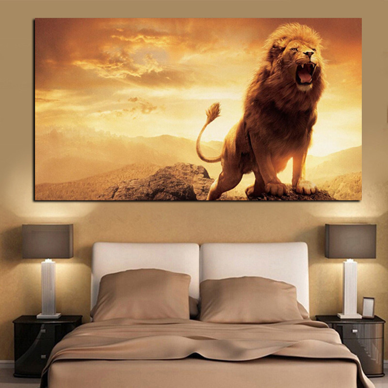 Print Abstract African Lion on Mountain Oil Painting on Canvas Animal Pop Art Wall Picture Poster for Living Room Cuadros Decor