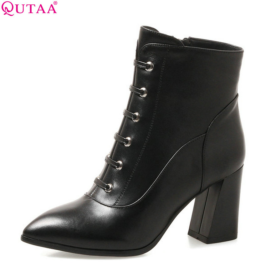 QUTAA 2019 Women Ankle Boots Cow Leather+Pu Platform Square High Heel Winter Shoes Women Motorcycle Boots Big Size 34-39 qutaa 2019 woman ankle boots fashion cow leather pu square high heel women shoes winter shoes ladies motorcycle boots size 34 42