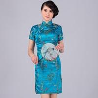 Lake Blue Traditional Chinese Classic Dress Mujere Vestido Women S Satin Cheongsam Mini Qipao Size S