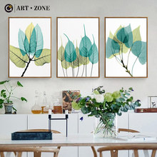 ART ZONE Leaf Watercolor Painting Plant Leaves Wall Art Print Canvas Poster Picture Living Room Home Decor Painting No Frame(China)