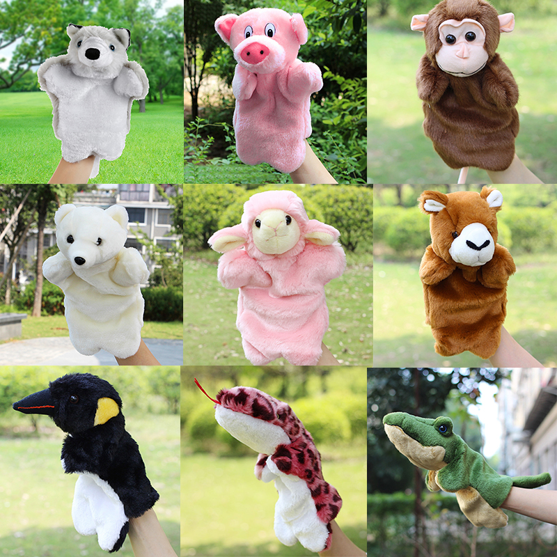 Kids Cute Animal Hand Puppet Baby Funny Bear Monkey Plush Hand Dolls Toy Child Learning Stuffed Toys Finger Puppets For Children цена