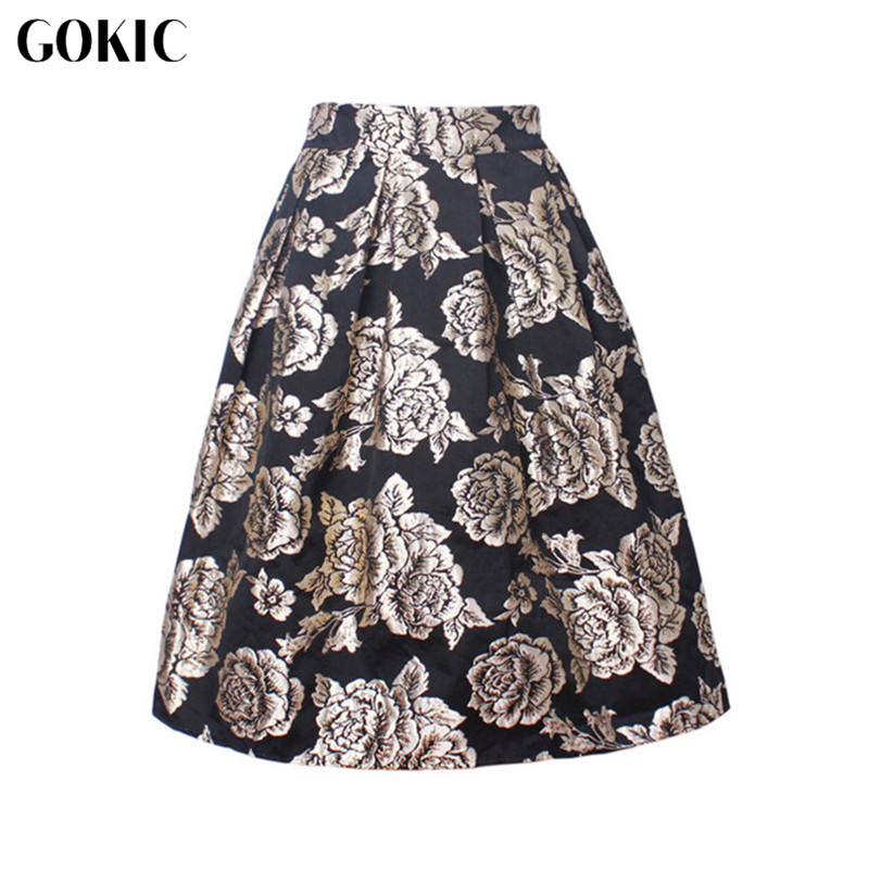 GOKIC Franchised Store GOKIC Women Summer Skirt Floral Print Ball Gown Pleated Midi Skater Skirt New 2017 High Waist Vintage Gold Rose Skirts