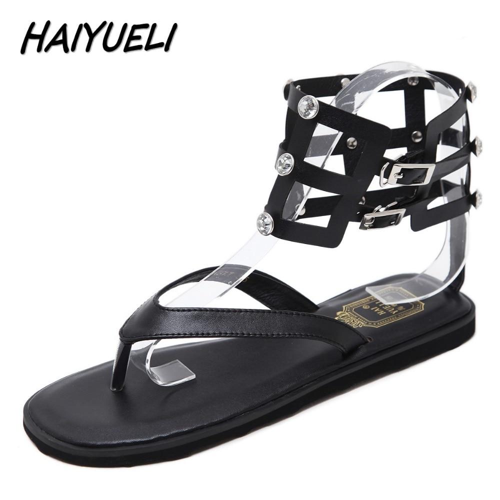 Black sandals rhinestones - Haiyueli New Women Gladiator Flat Sandals Shoes Woman Flip Flop Fashion Rhinestone Buckle Rome Sandals Size 35 41 Black