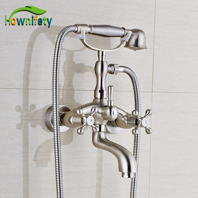 Nickel Brushed Bathroom Sink Faucet Swivel Spout Tub Faucet Double Handle Mixer Tap with Hand Shower nickel brushed bathroom sink faucet swivel spout tub faucet double handle mixer tap with hand shower