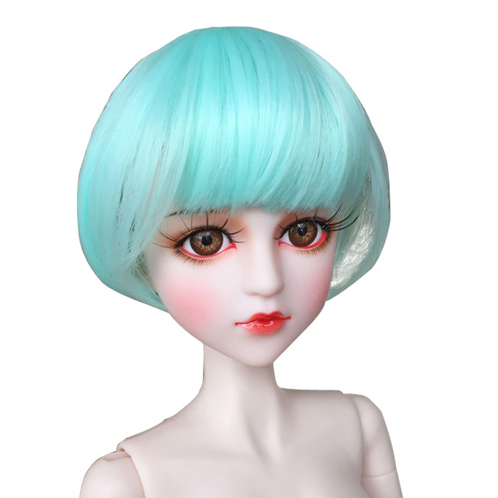 1/4 Bjd Dolls Diy Mint Green Bob Wig High-temperature Wire Hair For Dollfie For Dod Sd Dd Supplies Accessories Making Things Convenient For The People