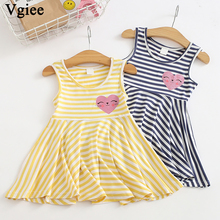 Vgiee Dress for Baby Girl Dresses 2019 Spring Summer Party Princess Dress Sleeveless Print for Love Little Girls Clothing CC296