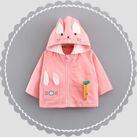 Quality Baby Girl Jacket Coat Autumn Cotton Infant Outerwear Cute Rabbit Ear Hooded Toddler Kids Carrot