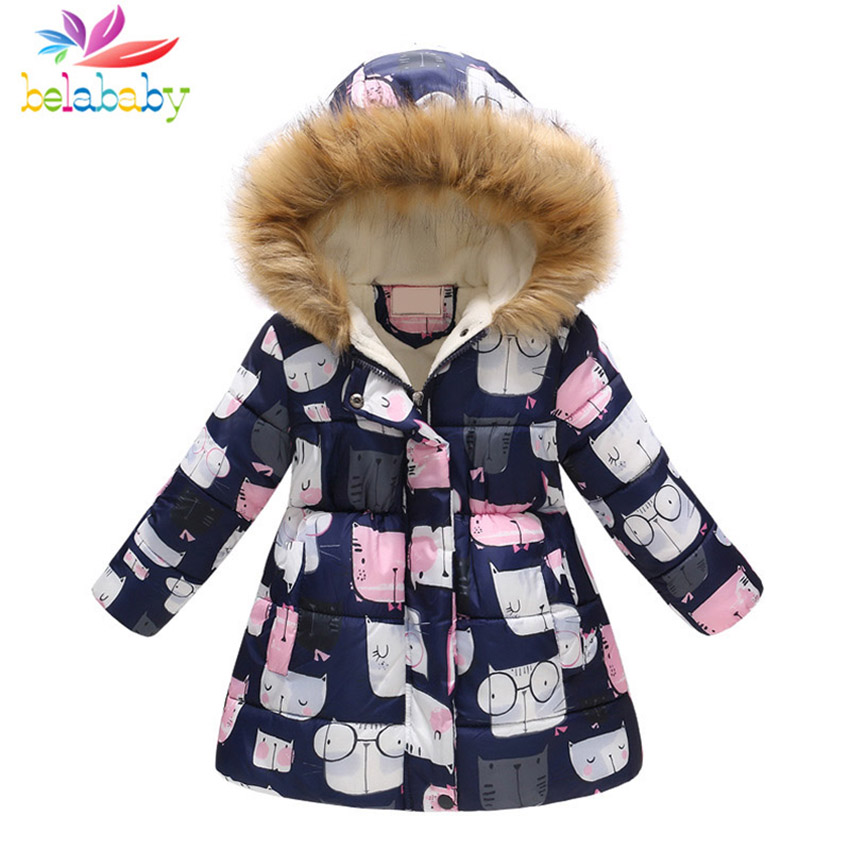Belababy Children's Jackets 2018 Winter Baby Coat Girls Fur Hooded Outerwear Child Cartoon Print Long Winter Jacket For Girl apple apple watch sport 38mm with sport band