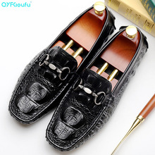 New Fashion Crocodile Pattern Men Dress Shoes Genuine Leather Handmade Loafers Men's Flats Party And Wedding Shoes